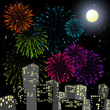 Fireworks in the centre of the city. New Year card Royalty Free Stock Photography