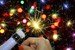 Fireworks and champagne Royalty Free Stock Photos