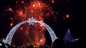 Fireworks at Christmas market stock video