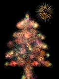 Fireworks christmas tree Royalty Free Stock Images