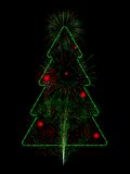 Fireworks Christmas tree. Christmas tree composed of red and green fireworks Royalty Free Stock Image