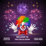 Fireworks Circus Show Background. Fireworks composition with circus show announcement editable text and images of clown face hands and cracker vector Royalty Free Stock Images