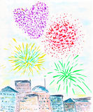 Fireworks in the city. Drawing of fireworks in the sky Royalty Free Stock Images