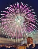 Fireworks in the city. Night view of fireworks in Valencia's Fallas, Spain Stock Photography