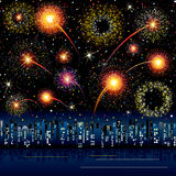 Fireworks in the city. Fireworks Display at the Night City, vector illustrated background Stock Photography