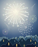 Fireworks in the city. An illustration of beautiful fireworks in a night time starry sky over the rooftops of a city skyline Royalty Free Stock Images