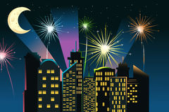 Fireworks in the city. A vector illustration of fireworks in the city Royalty Free Stock Photos