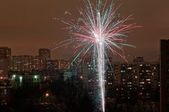Fireworks in the city royalty free stock images