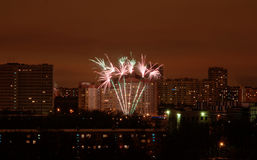 Fireworks in the city Stock Image