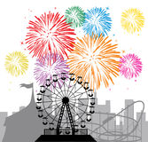 Fireworks, city and amusement park. Fireworks and silhouettes of a city and amusement park with circus, ferris wheel and roller-coaster, vector vector illustration