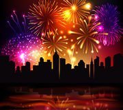 Fireworks City Background. Bright festive fireworks with modern city skyscrapers at night background vector illustration Royalty Free Stock Photos
