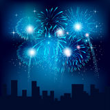 Fireworks. In the city on a dark background Stock Photography