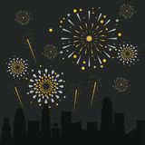Fireworks on the city. Icon vector illustration graphic design Royalty Free Stock Photography