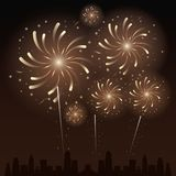 Fireworks on the city. Icon vector illustration graphic design Stock Photos