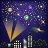 Fireworks in city. That have show in a night time Stock Photo