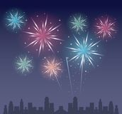 Fireworks on the city. Icon vector illustration graphic design Stock Photo