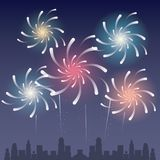 Fireworks on the city. Icon vector illustration graphic design Stock Images