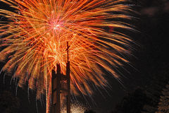 Fireworks in the city. Independence day and New year holidays. Royalty Free Stock Images