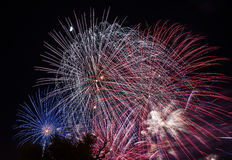 Fireworks in the city. Independence day and New year holidays. Royalty Free Stock Photos
