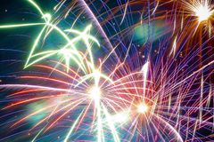 Fireworks in the city. Independence day and New year holidays. Royalty Free Stock Photography
