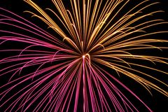 Fireworks in the city. Independence day and New year holidays. Royalty Free Stock Photo