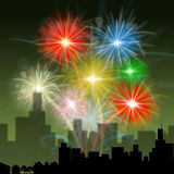 Fireworks City Indicates Night Sky And Celebration. City Fireworks Meaning Explosion Background And Celebrate Royalty Free Stock Photo