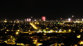 Fireworks and City Landscape Royalty Free Stock Photo