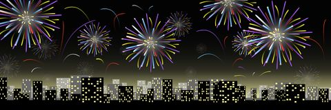 Fireworks in the city. Night fireworks in the city Royalty Free Stock Images