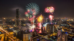 Fireworks in the city at night Royalty Free Stock Photos