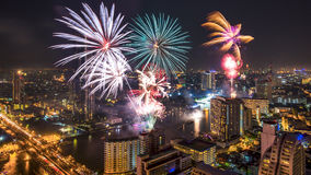 Fireworks in the city at night Royalty Free Stock Photo