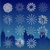 Fireworks on city at night landscape background. Stock Photography