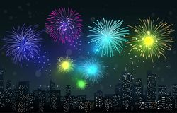 Fireworks on city night scene Stock Photography
