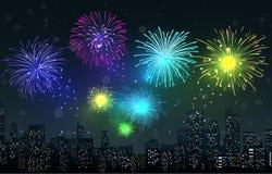 Fireworks on city night scene. Illustration of Fireworks on city night scene Stock Photography