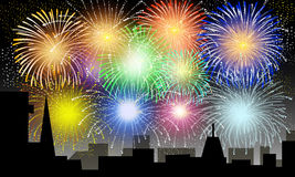 Fireworks on City Night - Vector. Fireworks on City Night is a  illustration Royalty Free Stock Images
