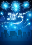 2015 Fireworks in the City. Fireworks over a city for New Year 2015 Vector Illustration
