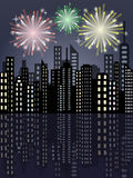 Fireworks in the city. Fireworks over the night city during the holiday vector illustration