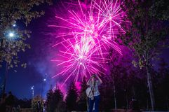 Fireworks in city park stock photography