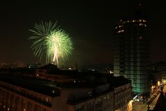 Fireworks in the city of Porto on New Years Eve