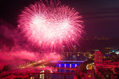 Fireworks in the city of Rouen Stock Image