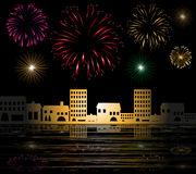 Fireworks in the city by the sea Royalty Free Stock Photography