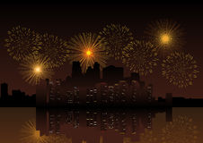 Fireworks On City Skyline. For New Year's theme and background Royalty Free Stock Images
