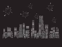 Fireworks city vector illustration Royalty Free Stock Photography