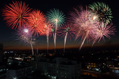 Fireworks. Cityscape. Great fireworks show in the capital city on a beautiful night sky Royalty Free Stock Image
