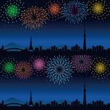 Fireworks and cityscape of Tokyo at night. Colorful fireworks and cityscape of Tokyo at night, Tokyo tower and Tokyo skytree Royalty Free Stock Photos