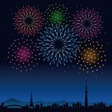 Fireworks and cityscape of Tokyo at night. Colorful fireworks and cityscape of Tokyo at night, Tokyo tower and Tokyo skytree Stock Image