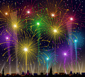 Fireworks on Cityscape - Vector. Fireworks on Cityscape is a  illustration Royalty Free Stock Images