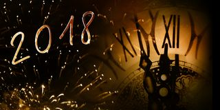 Fireworks with a clock and year number Royalty Free Stock Photo