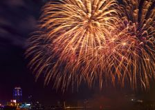 Fireworks close-up over night city - Yekaterinburg, Russia stock photography