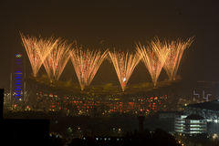 Fireworks of the Closing ceremony Royalty Free Stock Images