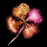 Fireworks in clover leaf shape stock images